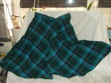 Turquoise tartan wool skating skirt 24 inch waist 20 inch length new