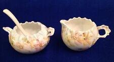 Vintage Hand Painted Porcelain Floral Creamer & Crimped Open Sugar Bowl w/ Spoon