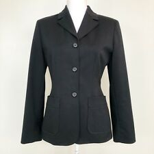 Express Womens Blazer Black Fitted Button Front Stretch Lined Jacket Size 3/4