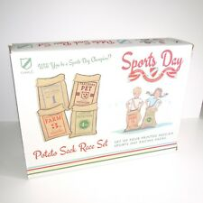 School Sports Day Deluxe Potato Sack Race Set (4 Printed Hessian Sacks Boy Girl)