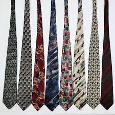 8 Men's Ties ALL LONG Artsy Retro Abstract Fendi Manzoni Vtg Silk Poly Tie Lot