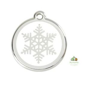 RED DINGO SNOWFLAKE ENGRAVED DOG / CAT IDENTITY PERSONALISED ID CHRISTMAS TAG