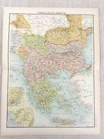 1898 Carte De Turquie en Europe Grèce Chypre Athens Rumelia Bulgarie Serbie