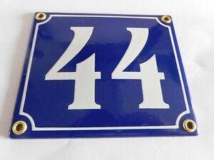 Old French Blue Enamel Porcelain Metal House Door Number Street Sign / Plate 44