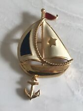 Vintage Avon Sailboat with Anchor Brooch Pin Enamel over Gold-tone Metal