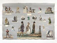 More details for large antique regency scrapbook page, portrait, landscape, fashion, circa 1820