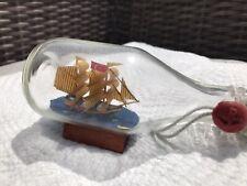 """Ship in a Bottle 5"""" Masted Schooner,Wood Base Red Seal Cork Glass Turkish Flag"""