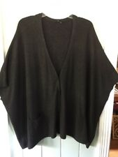EILEEN FISHER Charcoal Gray Cozy Viscose Stretch Knit Boxy V-Neck Cardigan Large