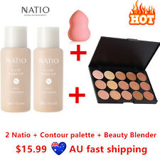 2 Natio Foundation #Tan + Contour Highlight Concealer Palette 1 + Beauty Blender