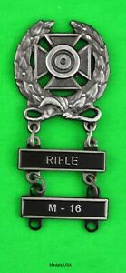 Army Expert Marksmanship Badge with RIFLE & M-16 Qualification Bars