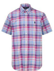 Ralph Lauren Mens Blue & Pink Check Short Sleeve Cotton Shirt Size L