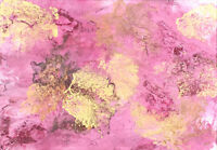 Modern ORIGINAL Abstract Acrylic Painting Signed Pink Copper Gold Matted Art #2