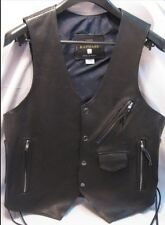 Biker Vest Black Leather Lace Up Sides Mens Heavyweight Lined Conchos S Small
