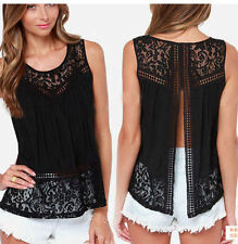 Women Summer Fashion Vest Top Sleeveless Blouse Casual Tank Tops T-Shirt Lace L