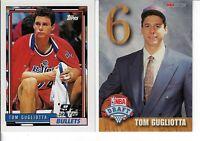 TOM GUGLIOTTA 2 ROOKIE BASKETBALL CARDS 1992-93 HOOPS E & TOPPS 258 BULLETS
