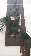 HARLEY DAVIDSON FEATHER CLIP BY HAIR GLOVE  PEACOCK FEATHERS, EMBLEM, BEADS
