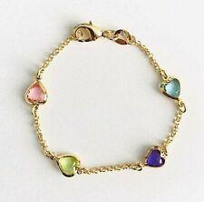 "18k gold filled multicolor heart bracelet 6"" girl, baby/Pulsera Corazon - BR1826"