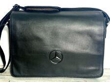 Mercedes Benz BLACK GENUINE LEATHER FLAP XBODY MESSENGER LAPTOP SHOULDER BAG