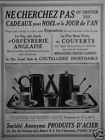 PUBLICITÉ 1922 PRODUIT D'ACIER GRAND STOCK DE COUTELLERIE INOX  - ADVERTISING