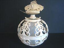 Vintage Ceiling Fixture Round Ornate Cast Metal Cage White Cylinder Light Holder