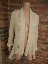 CAbi Teachers Pet Cardigan Size M Women Crochet Sweater #287 High Low Beige