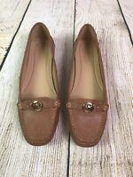 MICHAEL KORS SZ 8.5 Women's May Leather Moc Flat Pumps Acorn Tan color