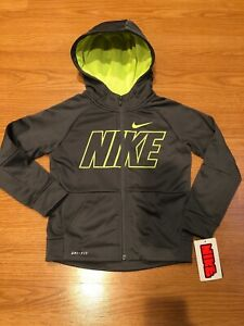 NWT$44 Nike Therma-Fit Small Boy Full-Zip Fleece Hoodie Gray Size 6 7