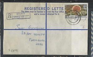 SWAZILAND   (PP0610B) 1981 RLE WITH 20C FLOWER REG BHUNYA TO FORDSBURG