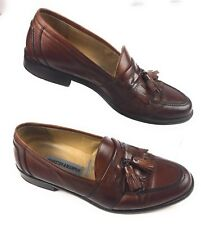 Johnston & Murphy Italy Brown Leather Kiltie Tassel Apron Toe Loafers Shoes 8M