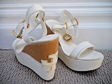 TORY BURCH Carlee ivory leather logo detail wedge sandals 7.5 WORN ONCE