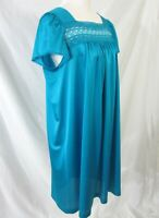 Vanity Fair Size Large Nightgown Vintage 1960s Jewel Tone Blue Nylon USA