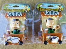2PC Coffee Java Cart Street Vendor BOBBLEHEAD TOY GIFT SOLAR POWER CAR OFFICE