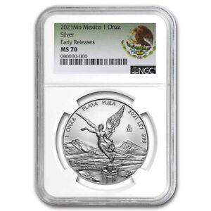2021 Mexico 1 oz Silver Libertad MS-70 NGC (ER, Coat of Arms)