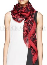 "ALEXANDER MCQUEEN red ANIMALIER SKULL 52""-Square cashmere scarf NEW Authent $725"