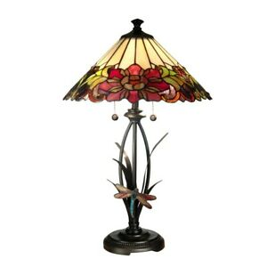 Dale Tiffany Floral With Dragonfly Tiffany Table Lamp - TT10793