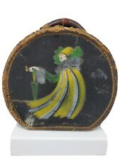 French Leather Hand Painted Perriott Horseshoe Hat Box Luggage Boite Chapeaux