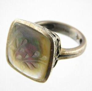 Silpada Sterling Silver Floral Etched Mother of Pearl Ring Leaves MOP 925 Size 7