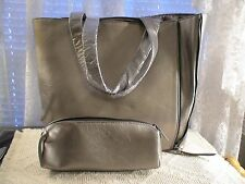 NEIMAN MARCUS PEWTER METALLIC OPEN TOTE BAG W/MATCHING COSMETIC BAG NEW