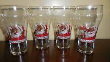 4  VINTAGE LIBBY COCA COLA SANTA'S CHRISTMAS GLASSES
