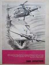 9/64 PUB SUD AVIATION HELICOPTER ALOUETTE 3 BREGUET ALIZE MARINE PORTE-AVION AD