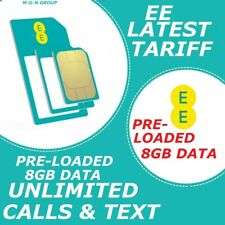 EE SIM CARD NANO - MICRO - STANDARD FOR ALL EE PHONE PRE-LOADED 8GB UNLIM CALLS
