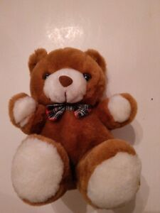 BROWN BEAR WITH PLAID BOW TIE--9 INCHES IN LENGTH--CUTE AND SOFT