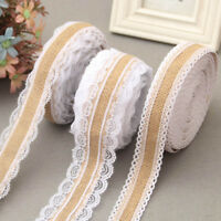 Vintage Lace Linen Roll Burlap Ribbon Rustic DIY Wedding Party Decor Crafts #ur