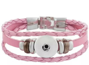 Pink Real Leather 18mm 20mm Snap Button Charm Bracelet For Ginger Snaps