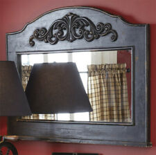 Primitive/Country Distressed Black Mantle Mirror Farmhouse FREE SHIPPING
