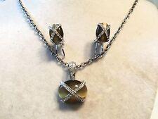 Silver TIGER EYE Glass Rhinestone Crystal Pendant Necklace & Earrings 13EN04S