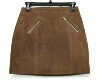 BlankNYC Denim Womens Brown Front Back Zip Leather Suede Miniskirt NWT $98