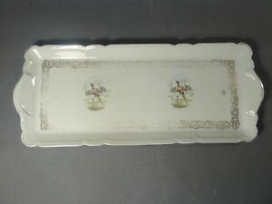 Plat ancien rectangulaire en porcelaine de luxe art pop french antique