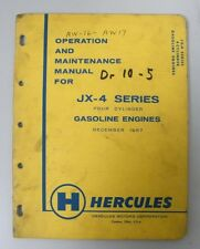 Vintage 1957 Hercules Jx-4 Series Gas Engine Operation And Maintenance Manual