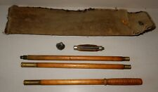 """Antique Shotgun Cleaning Kit: 36"""" 3-Pc Wood Rod, 2 Cleaning Tips, Canvas Pouch"""